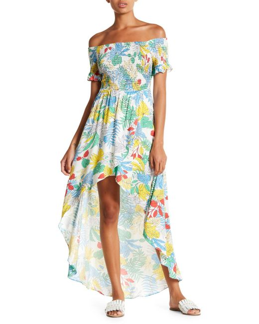 Lush - Multicolor Off-the-shoulder Printed Maxi Dress - Lyst