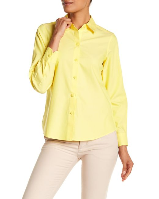 Foxcroft - Yellow Long Sleeve Shaped Diane Shirt - Lyst