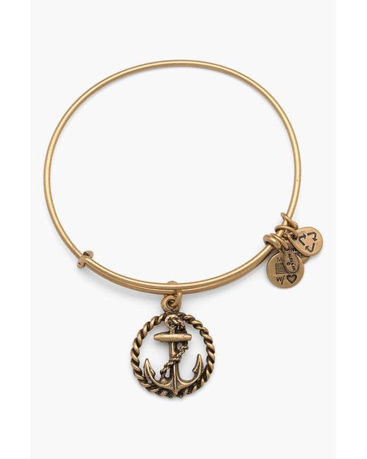 ALEX AND ANI - Metallic Anchor & Circle Rope Expandable Wire Charm Bracelet - Lyst