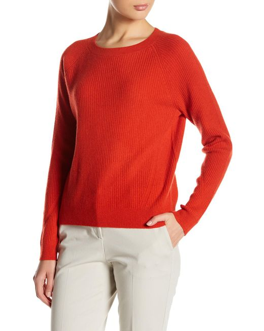 Vince | Red Ribbed Cashmere Sweater | Lyst