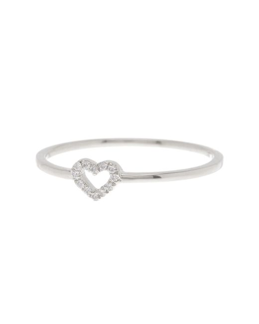 Bony Levy | 18k White Gold Pave Diamond Heart Ring - 0.04 Ctw - Size 6.5 | Lyst