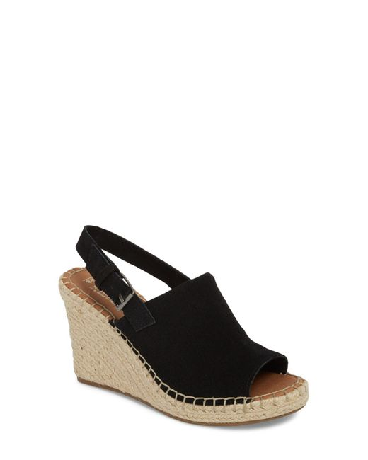 TOMS - Black Suede Monica Womens Wedges - Lyst