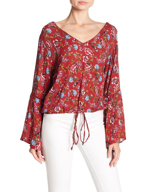 Angie - Red V-neck Print Bell Sleeve Blouse - Lyst