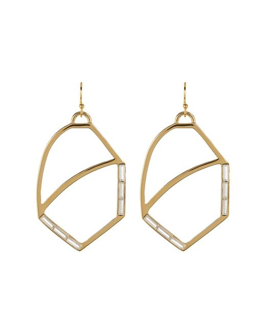 Botkier | Metallic Crystal Accented Cutout Oval Drop Earrings | Lyst