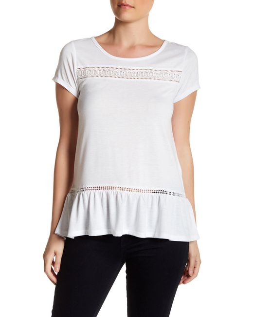 Joe Fresh | White Lace Trim Tee | Lyst