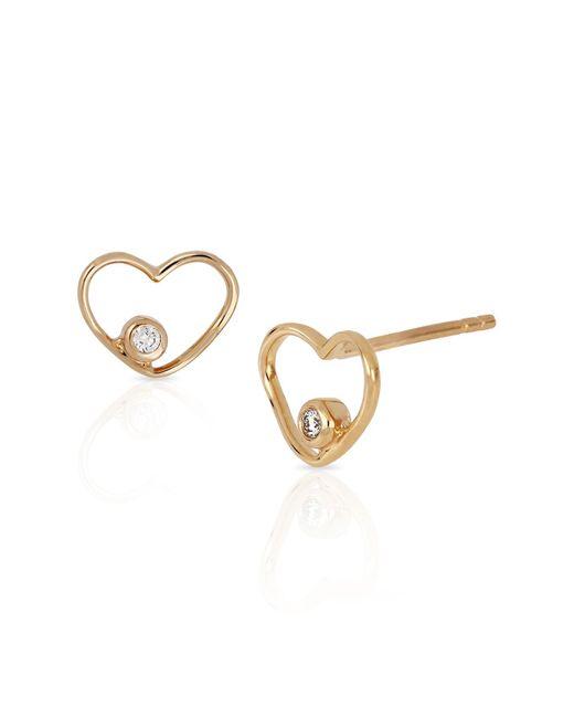 Bony Levy - Metallic 18k Rose Gold Bezel Set Diamond Open Heart Stud Earrings - 0.02 Ctw - Lyst