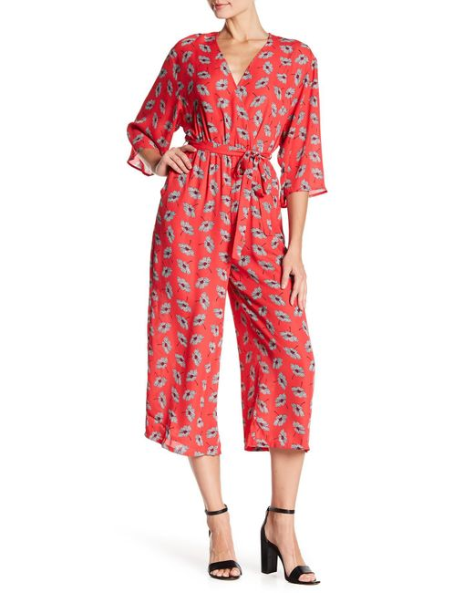19 Cooper - Red Kimono Sleeve Mock Wrap Jumpsuit - Lyst