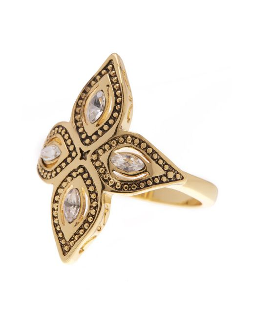 Ariella Collection | Metallic Leaf Stone Ring | Lyst