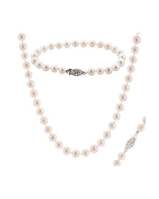 Splendid - Multicolor 6.5-7mm Cultured Freshwater Natural Pearl Necklace, Bracelet, & Stud Earrings Set - Lyst