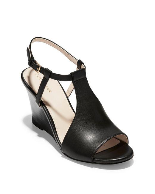 dfa5e19b3e9e Cole Haan - Black Maddie Open Toe Wedge Sandal - Lyst ...