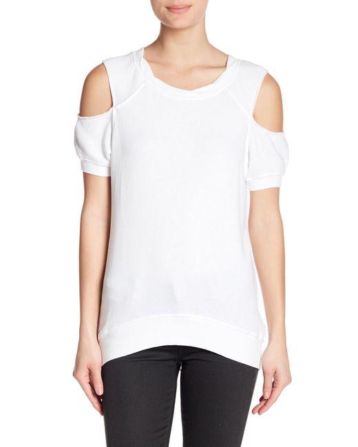 Pam & Gela - White Cold Shoulder Sweatshirt - Lyst