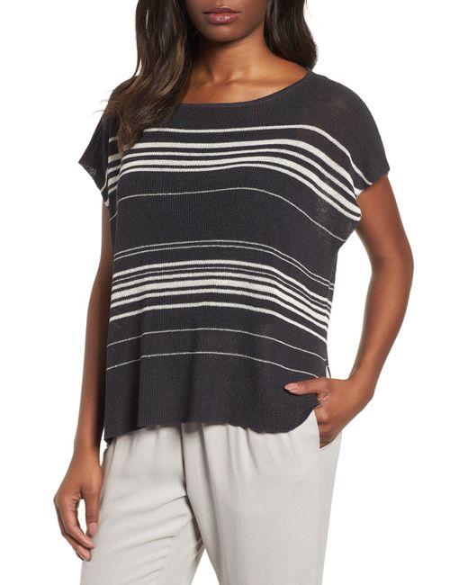 Eileen Fisher - Black Organic Linen Blend Poncho Sweater - Lyst