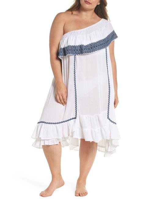 Muche Et Muchette - White Gavin One-shoulder Cover-up Dress (plus Size) - Lyst