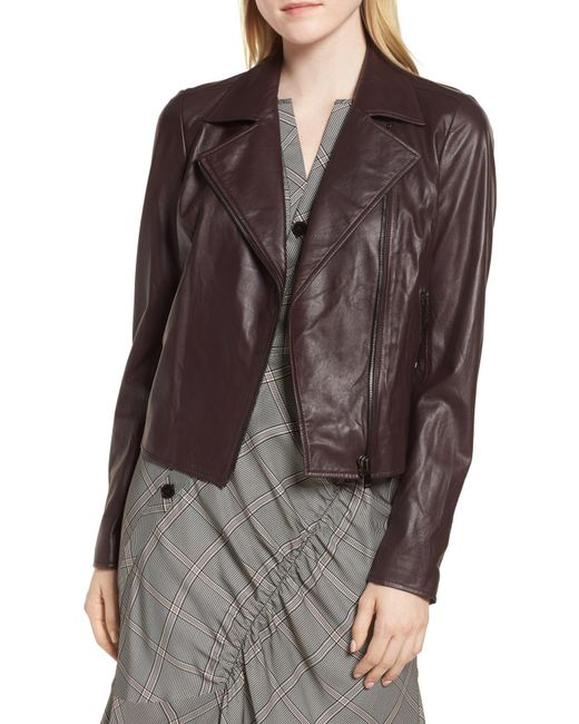 LEWIT - Brown Leather Moto Jacket - Lyst