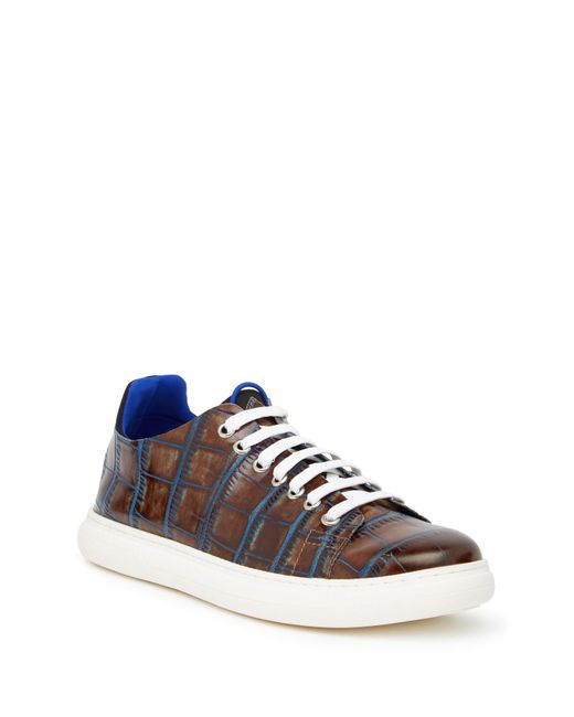 Donald J Pliner - Brown Pierce Croc-embossed Sneaker for Men - Lyst