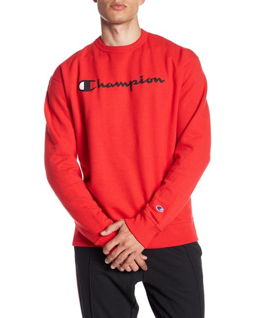 Champion Red Graphic Powerblend Crew Neck Pullover for men