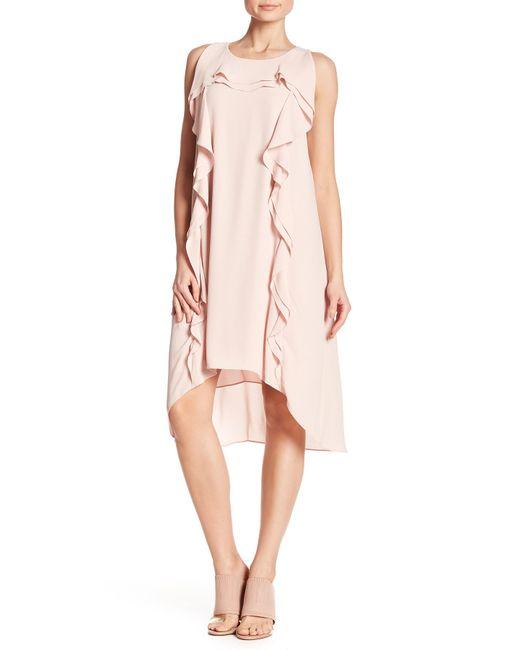 BCBGMAXAZRIA - Pink Ruffle Accent Hi-lo Dress - Lyst