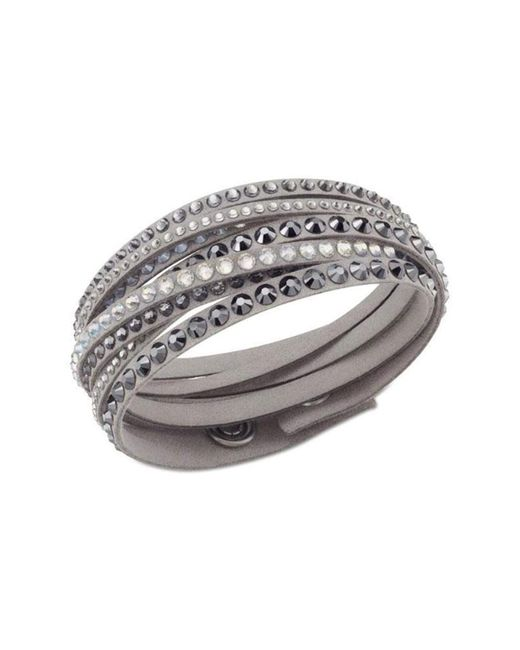 Swarovski - Gray Golden Fabric Crystal Stud Wrap Bracelet - Lyst