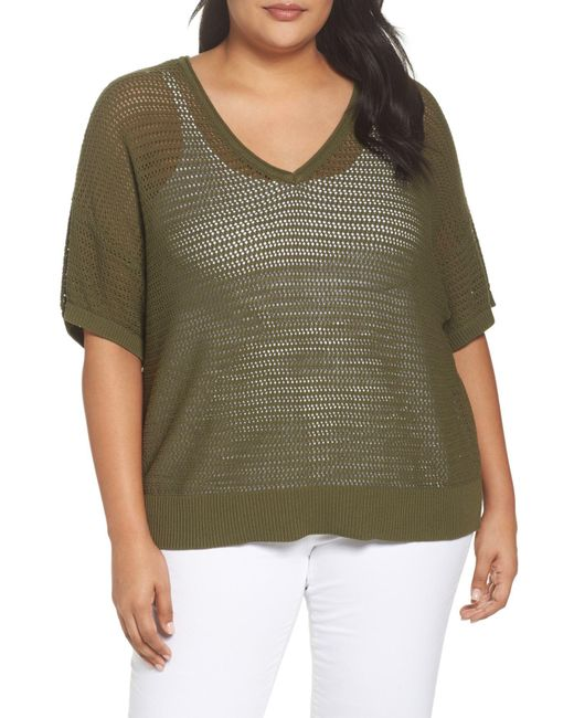 Sejour - Green Open Stitch Cotton Sweater (plus Size) - Lyst