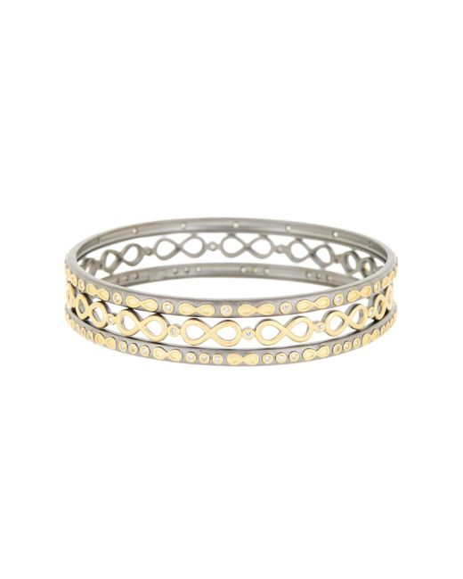 Freida Rothman - Metallic 14k Gold Plated Sterling Silver Cz Infinity Bangle Set - Lyst