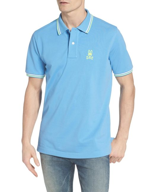 Psycho Bunny | Blue Neon Bunny Pique Polo for Men | Lyst