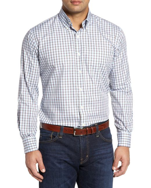 Peter Millar - White Regular Fit Crisp Pane Sport Shirt for Men - Lyst