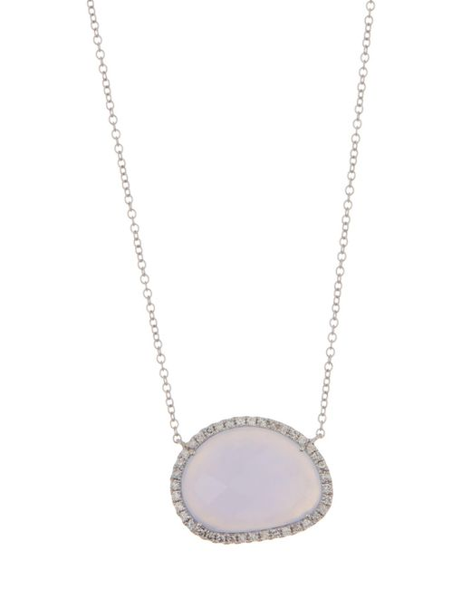 Meira T - Metallic 14k White Gold Diamond Pave Chalcedony Necklace - Lyst