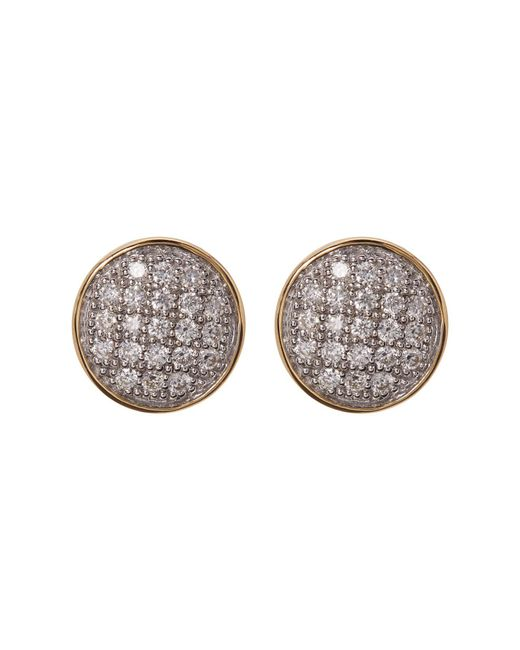 Bony Levy | Metallic 18k Two-tone Pave Diamond Circle Stud Earrings - 0.13 Ctw | Lyst