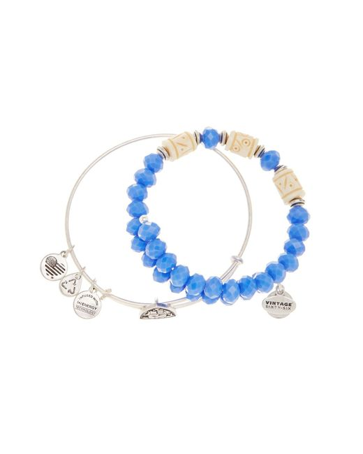 ALEX AND ANI | Metallic Navy Vessel Beaded Bangle Bracelets - Set Of 2 | Lyst