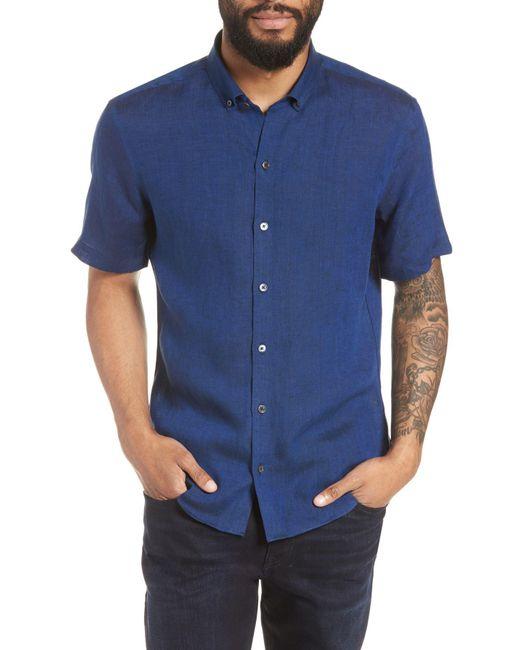 Zachary Prell - Blue Shapiro Trim Fit Linen Popover Sport Shirt for Men - Lyst