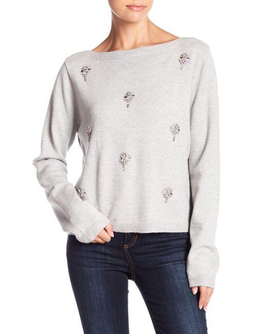 Muche Et Muchette - Gray Rhinestone Accented Sweater Top - Lyst