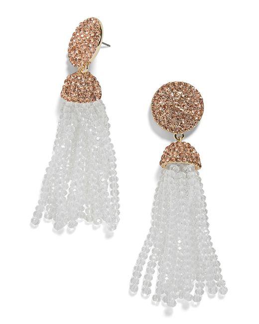 BaubleBar - White Elle Beaded Tassel Drop Earrings - Lyst