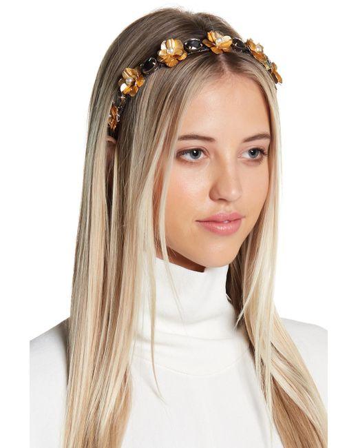 Cara - Metallic Floral Rhinestone Headband - Lyst