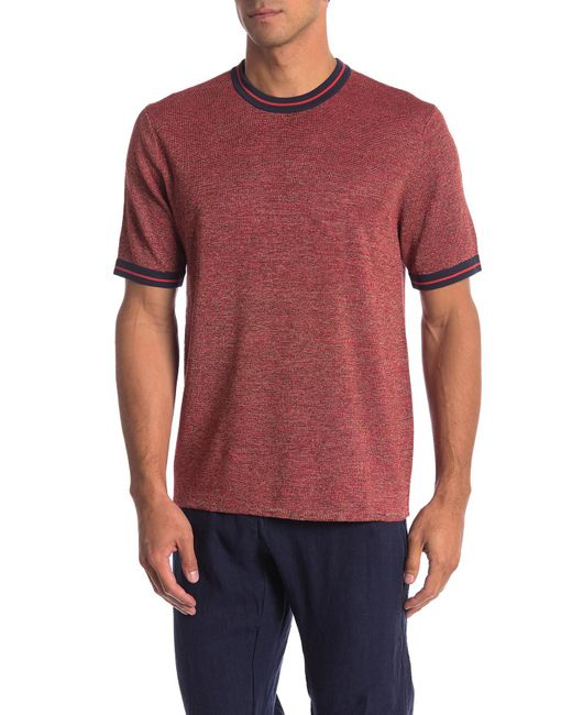 Perry Ellis - Red Knit Ringer Tee for Men - Lyst