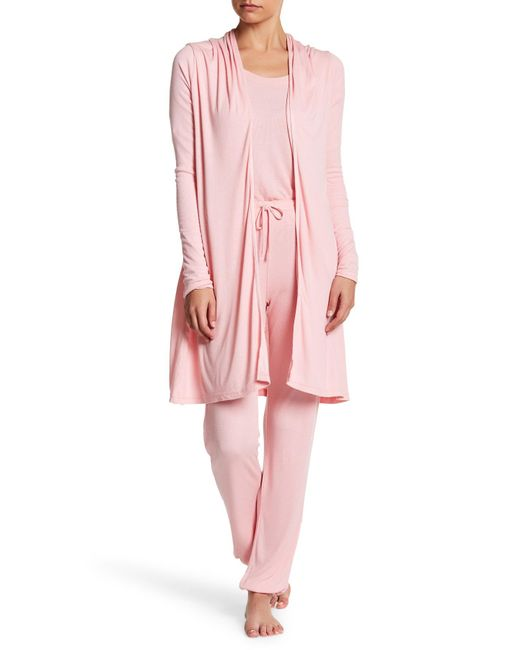 Barefoot Dreams | Pink Luxe Ribbed Jersey Cardigan | Lyst