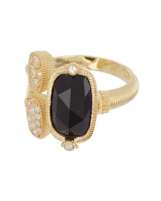 Judith Ripka - Metallic 14k Gold Plated Sterling Silver Gold Coast Gemstone & Double Pave Station Ring - Size 7 - Lyst