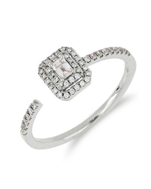 Bony Levy - Metallic 18k White Gold Faceted Baguette & Halo Set Diamond Detail Open Ring - 0.30 Ctw - Lyst
