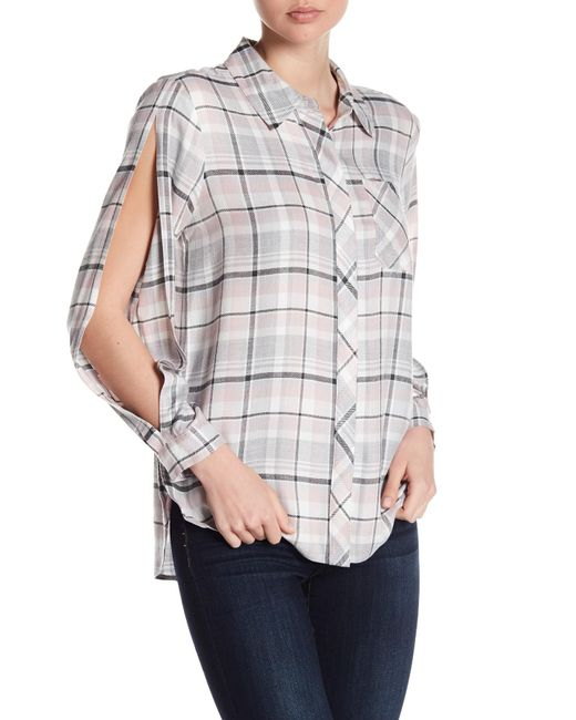 Two By Vince Camuto - Multicolor Split Long Sleeve Plaid Blouse - Lyst