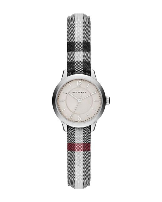Burberry - Multicolor Women's Classic Round Check Fabric Strap Watch - Lyst