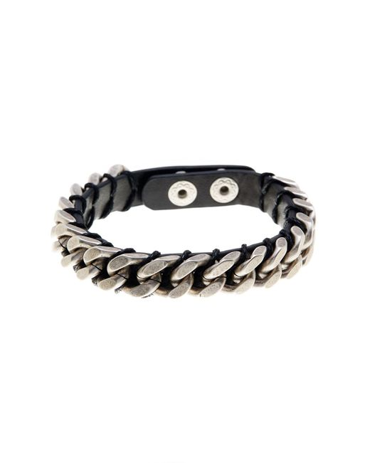 Steve Madden - Black Chain Detail Leather Bracelet - Lyst