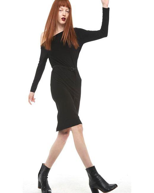 Norma Kamali | Black Long Sleeve Drop Shoulder Dress | Lyst