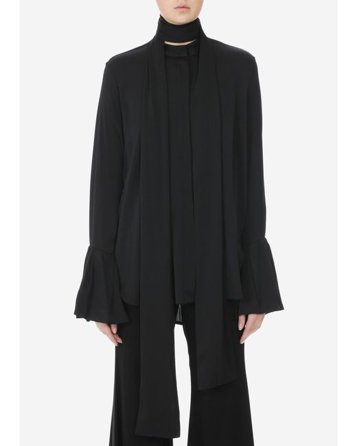 Ellery - Black Lucky Pussy Bow Ruffle Sleeves Blouse - Lyst
