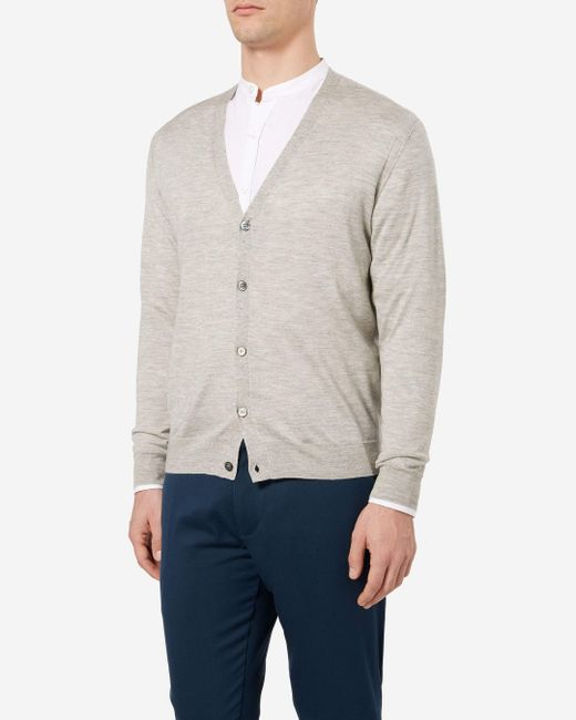 N.Peal Cashmere - Gray Fine Gauge Cardigan for Men - Lyst