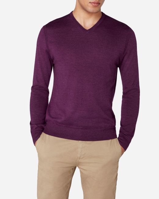 N.Peal Cashmere - Purple The Conduit Fine Gauge V Neck Jumper for Men - Lyst
