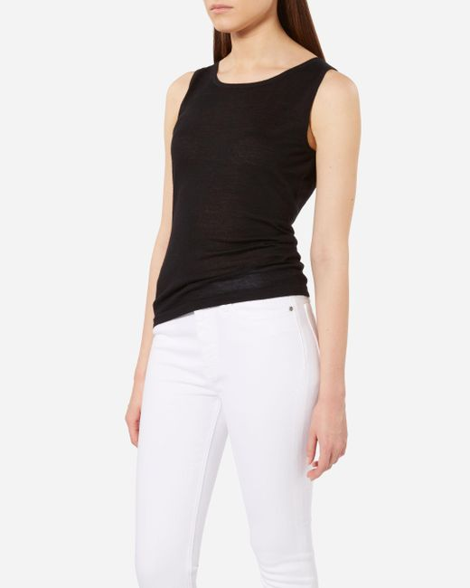 N.Peal Cashmere | Black Super Fine Cashmere Shell Top | Lyst