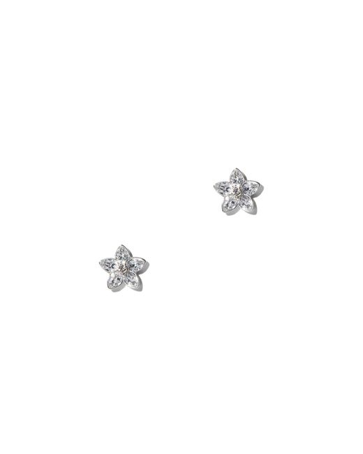 New York & Company - Metallic Floral Cubic Zirconia Silvertone Post Earring - Lyst