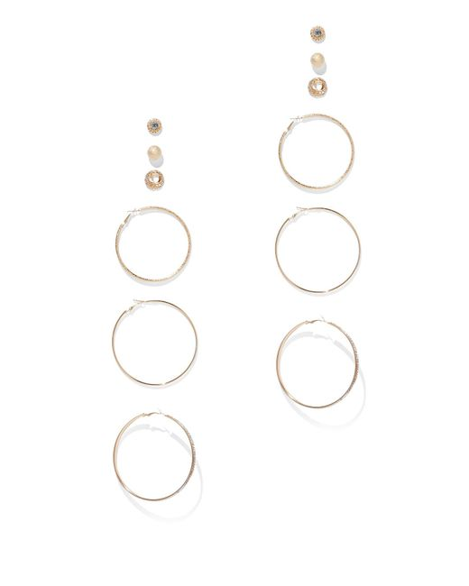 New York & Company - Metallic 6-piece Goldtone Hoop & Post Earring Set - Lyst