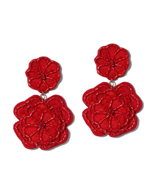 New York & Company - Red Beaded Floral Drop Earring - Lyst
