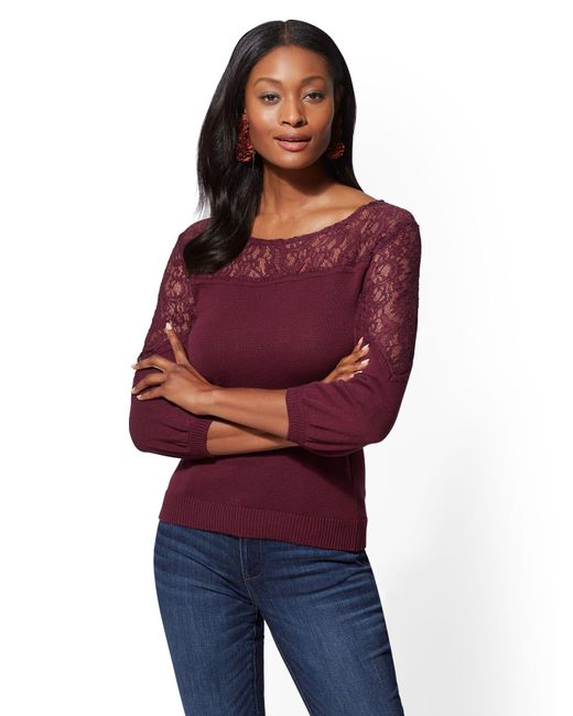 New York & Company - Purple Lace-inset Sweater - Lyst