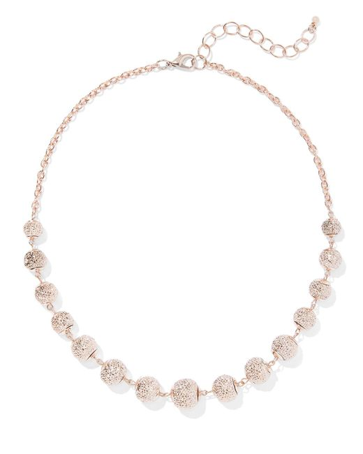 New York & Company - Pink Goldtone Pave Beaded Necklace - Lyst